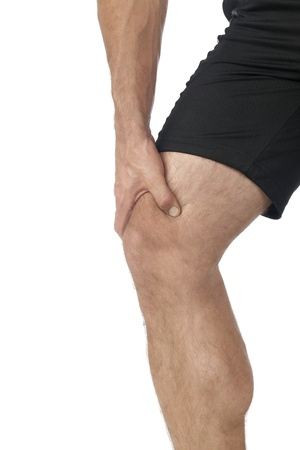 articulation: Portrait of man suffering from knee pain in a cropped image