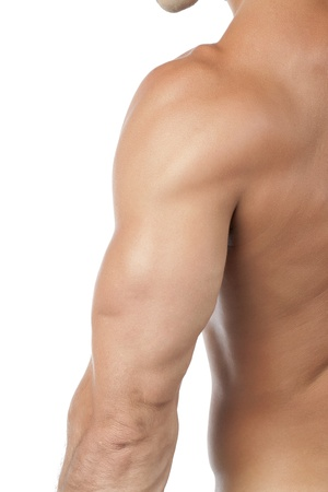 Close up image of muscular arm of a man against white background Stock Photo - 17148564
