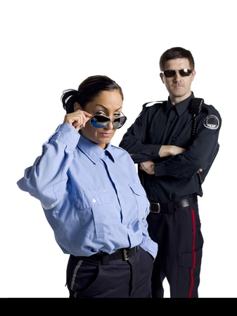 Two brave police officers wearing shades photo