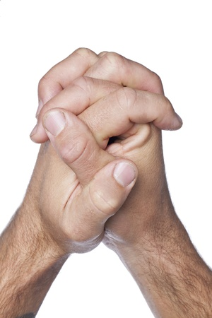 mains pri�re: Ferm� up shot de prier les mains isol�s sur un fond blanc