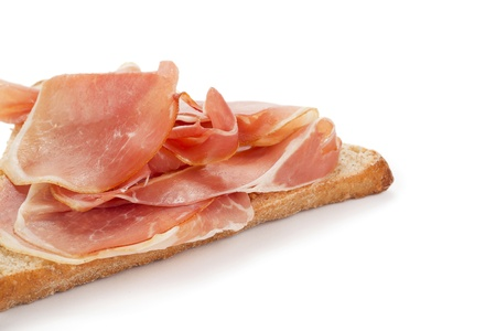 Close up image of Prosciutto ham in slice of bread against white background Stock Photo - 17142860