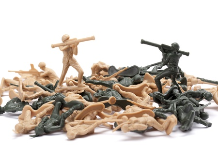 plastic soldier: Image of two soldiers fighting each other on war