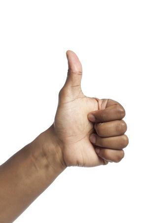 comunicacion no verbal: De cerca la imagen de los pulgares para arriba firmar mano gesturing Foto de archivo