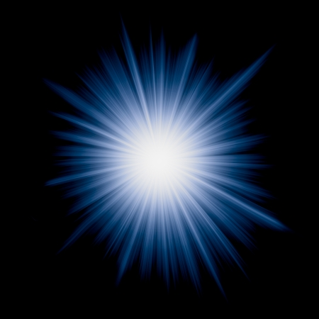 Digitally generated image of star burst with blue rays.