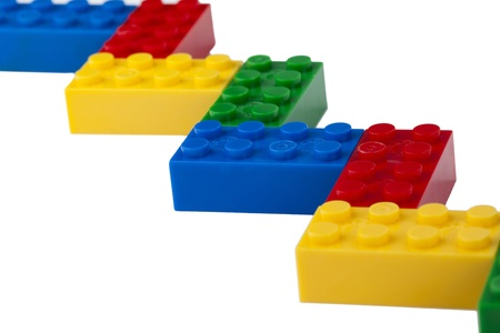 Zigzag connection of a colorful Lego bricks
