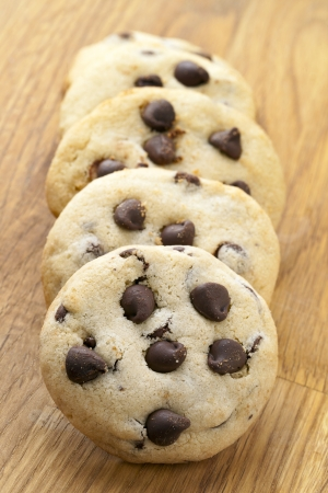 Chocolate chip cookies in a wooden background Stock Photo - 17168141