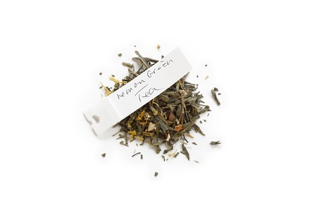 Close-up shot of lemon green tea with tag on white background. Stock Photo - 17151239