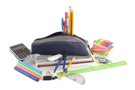 Image of school supplies against white background photo