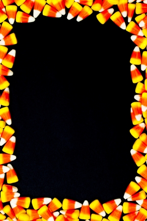 Close-up of arranged candy corn. photo