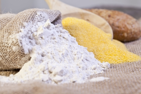 maize flour: Close up image of wheat and maize flour Stock Photo