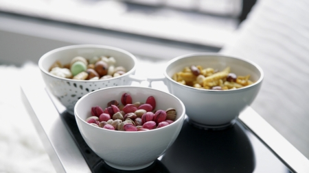 Image of assorted beans on white bowl photo