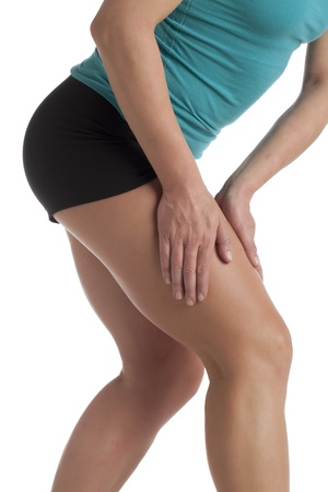 leg calf injury: Close-up image of a woman leg with calf pain against the white surface