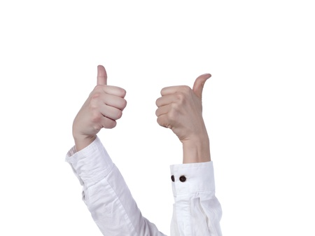 Raised Hand Making a Thumbs up Gesture Stock Photo - 17150601