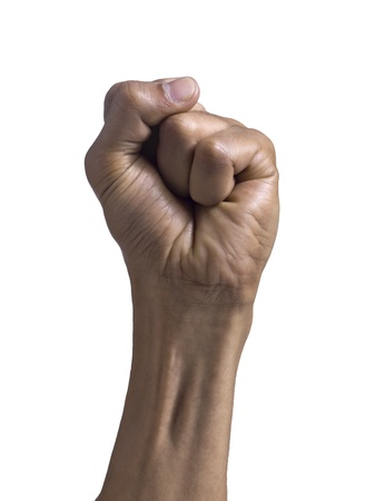 closed fist sign: Close up image of human fist against white background Stock Photo