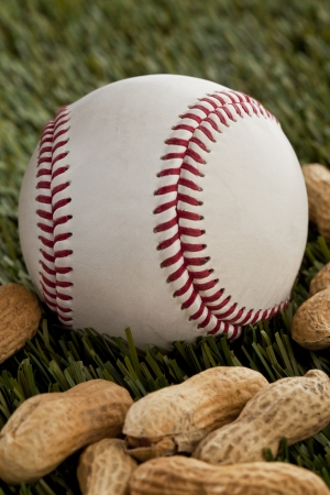 pygmy nuts: Baseball and ground nuts in a close-up image Stock Photo