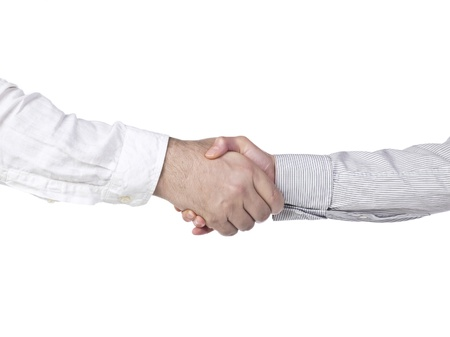 Close up image of two business people having a firmed collaboration Stock Photo - 17151655