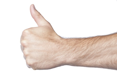 Hand gesturing approved over a white background Stock Photo - 17152570