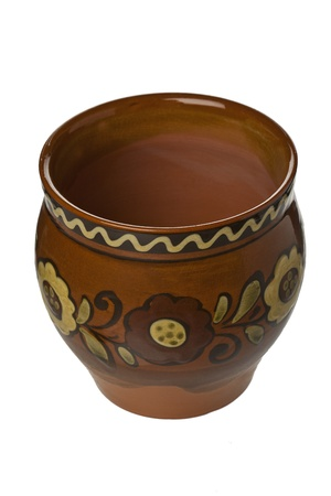 Decorated jar made of clay Stock Photo