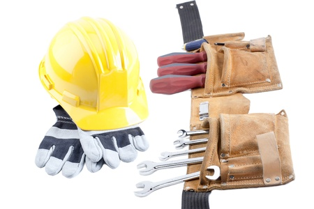 screwdriwer: Image of construction equipment isolated on white background Stock Photo