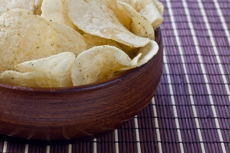 nosh: Closeup cropped bowl of delicious potato chips
