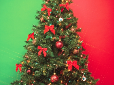 Christmas tree with colorful decoration photo