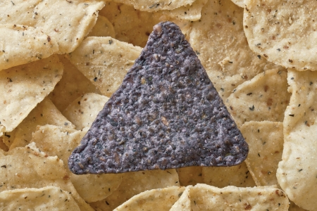 Close-up image of crunchy nachos topped with blue corn chip tortilla Stock Photo - 17170501