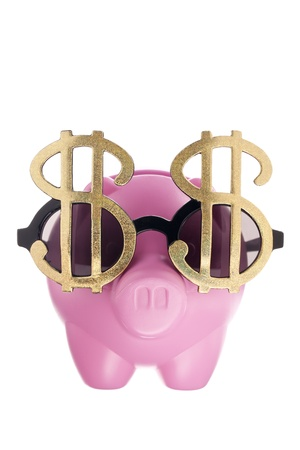 Dollar glasses and piggy bank in a white background Stock Photo - 17152129