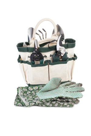 gardening gloves: Gardening tool bag and pair of gardening gloves isolated in a white background Stock Photo