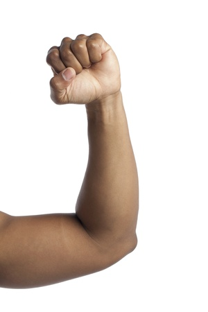 closed fist sign: Close-up image of human arm flexing his muscle isolated on a white surface Stock Photo