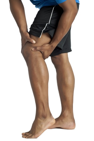 Image of a man knee pain against white background Stock Photo - 17152377