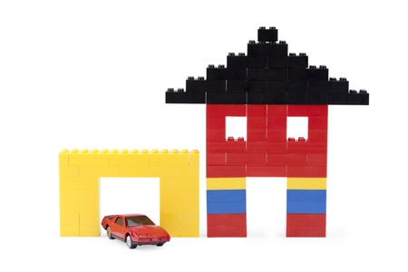 Image of a lego tiny house and garage on a white background Stock Photo - 17151084