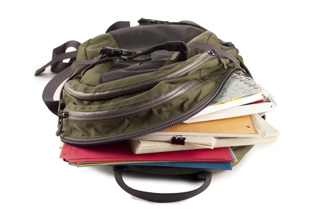 Image of school bag full of school materials against white background photo
