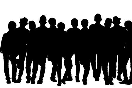 melchor: Silhouetted image of group of stylish men. Model: Allen Bernardo Medel, Melchor Kenzo Y. De JesuVI, Ralphe Marvin Ico, Richmond Albert Roxas, Romeo C. Samonte Jr., Rupert Magpayo