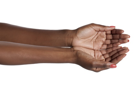Close-up image of a woman with pleading hands against the white surface Stock Photo - 17152440