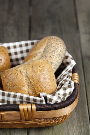 Cropped image of assorted bread in basket photo