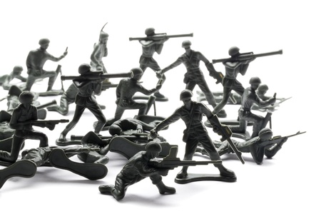 plastic soldier: Soldier troops ready to attack Stock Photo