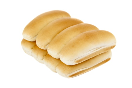 newly baked: A pile of hotdog bun lying on a white background Stock Photo