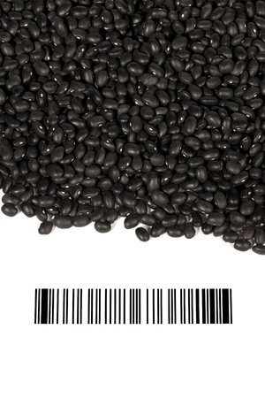 Black beans with bar code against the white background Stock Photo - 17153551