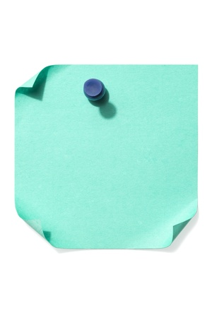 paper pin: Vertical image of blue pushpin tack on a blank blue note paper over the white background