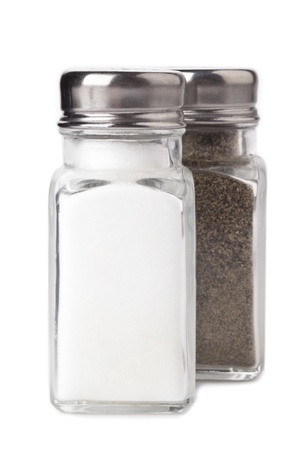 Close up image of bottle salt and pepper against white background
