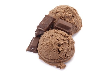 Close up image of chocolate ice cream and chocolate bars against white background Stock Photo - 17152118