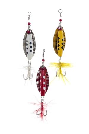lure fishing: Close-up immagine di richiamo di pesca colorato isolato su uno sfondo bianco