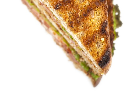 toasted sandwich: Cropped toasted sandwich over a white background