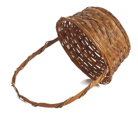 willow fruit basket: Easter Basket against white background Stock Photo