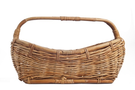 flower basket: Empty flower basket isolated on