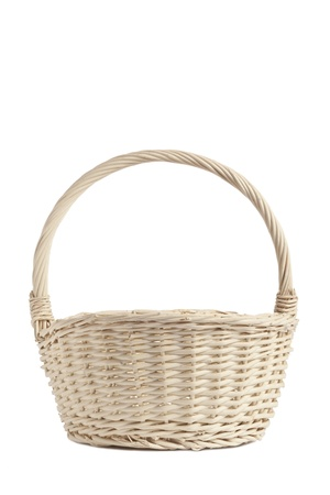 willow fruit basket: Empty picnic basket isolated on