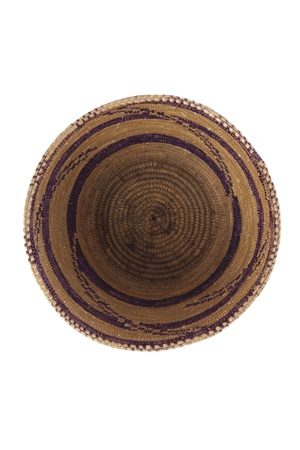 willow fruit basket: Empty woven basket in a top view image
