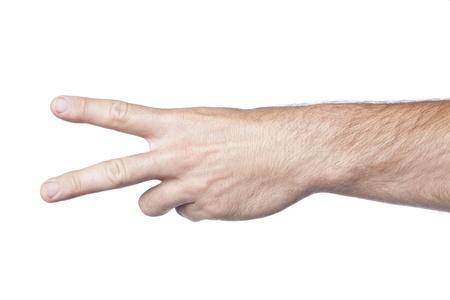 comunicacion no verbal: Número dos, el gesto de la mano en una imagen de primer plano