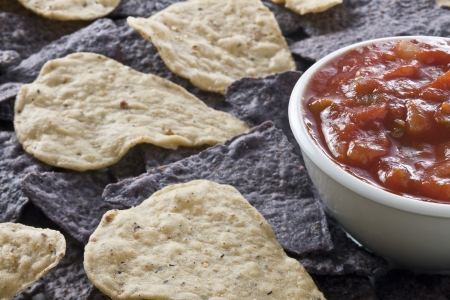 Image of crunchy tortilla chips and a bowl of tomato salsa Stock Photo - 17168489