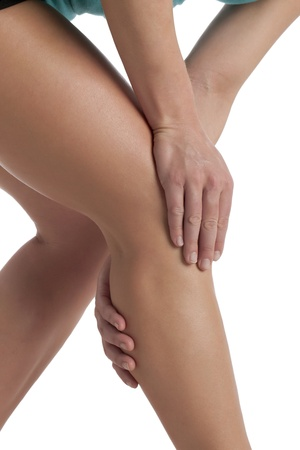 Cropped image of human leg suffering from calf pain photo